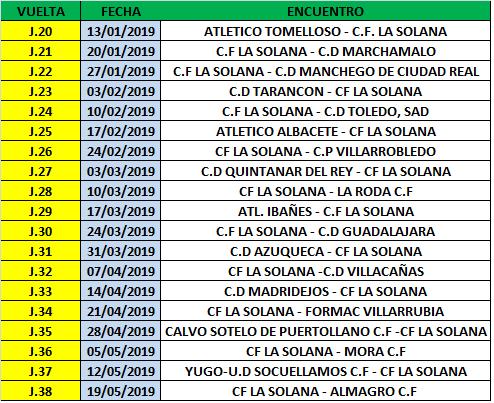Calendario Tercera Division.Calendario Tercera Division Club De Futbol La Solana